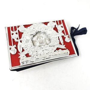 LENOX Silver Red Holiday Christmas Photo Album EUC